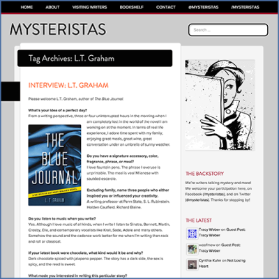 Mysteristas LT Graham Interview about The Blue Journal
