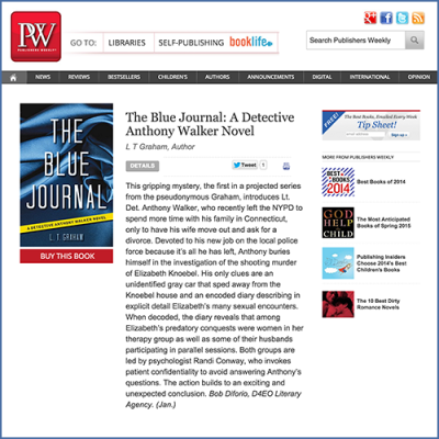 Publishers Weekly Feature on The Blue Journal by Author LT Graham
